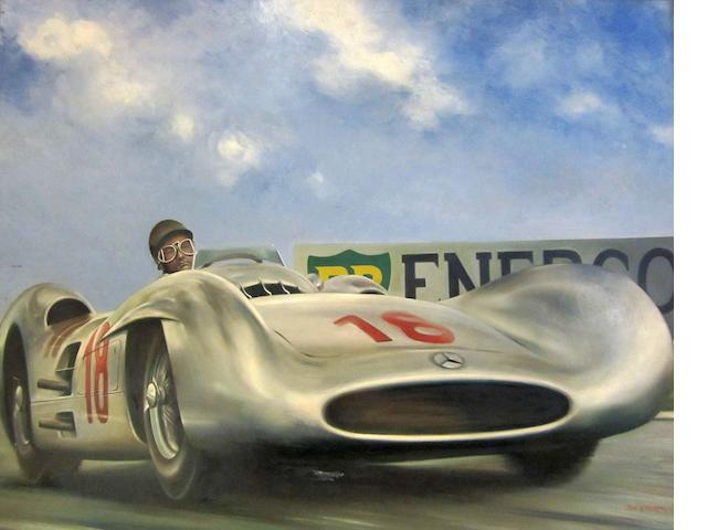 Peter of Dalkeith The New Silver Arrows, Juan Fangio Mercedes-Benz W196 Winning the 1954 French Grand Prix 70 x 90cm.
