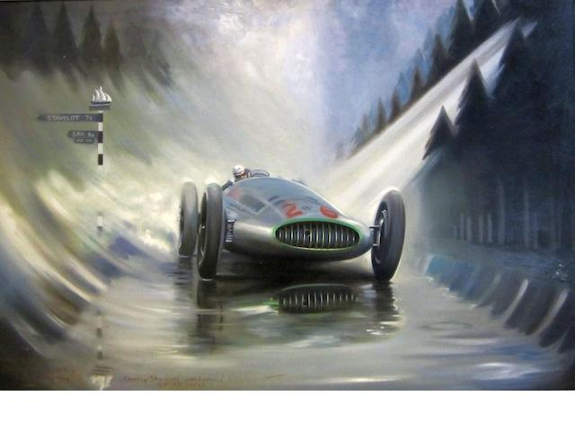 Peter of Dalkeith Dick Seaman Mercedes-Benz W163 during the Belgian Grand Prix at Spa 60 x 91cm.