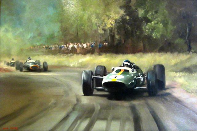 Dion Pears British Grand Prix 1964, Brands Hatch, Jim Clark's Winning Lotus Follwed by Graham Hill's B.R.M. 62 x 92.5cm.