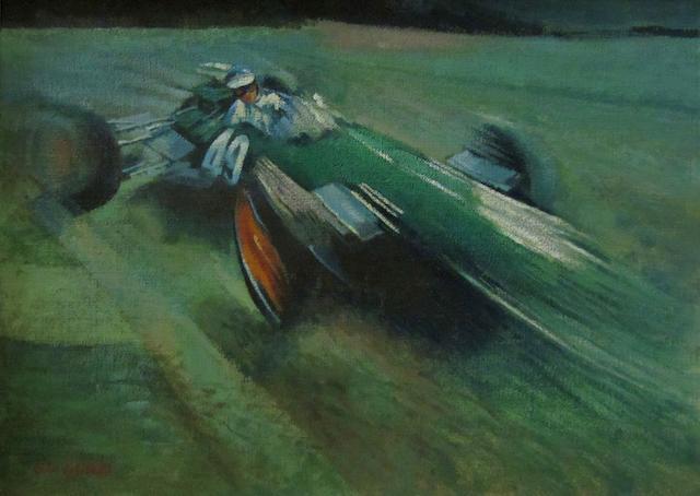John Laurie Jim Clark, Lotus 49 x 70cm.