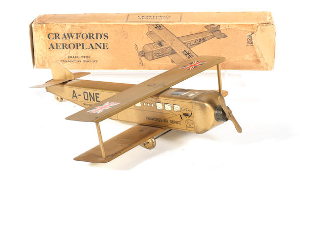 A W.Crawford's A-ONE Aeroplane biscuit tin