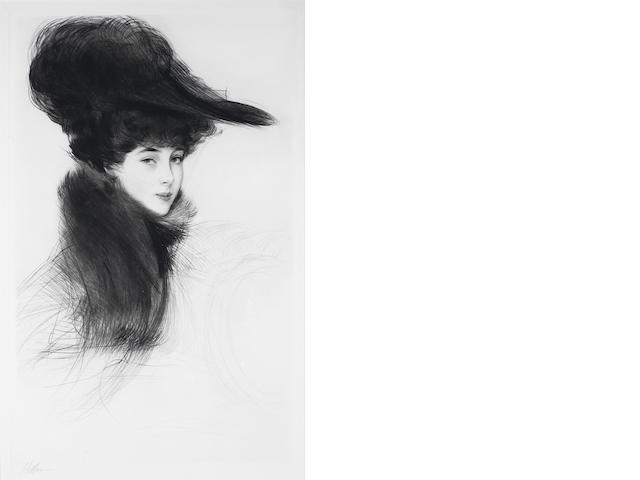 Paul César Helleu (French, 1859-1927) La Duchesse de Marlborough, Consuelo Vanderbilt Drypoint, circa 1901, a rich impression, on white wove, signed in pencil,  with full margins,  (21 1/2 x 13 3/4in)