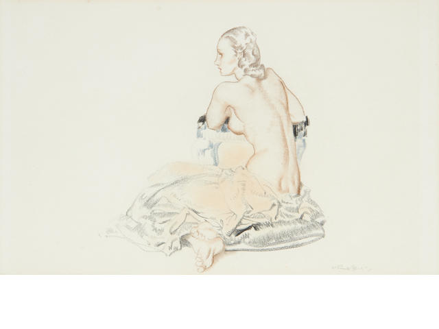 Sir William Russell Flint R.A., P.R.W.S. (British, 1880-1969) Study for painting 'Models for Goddesses'