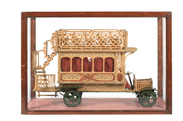 A fine wooden fretwork model of an Omnibus