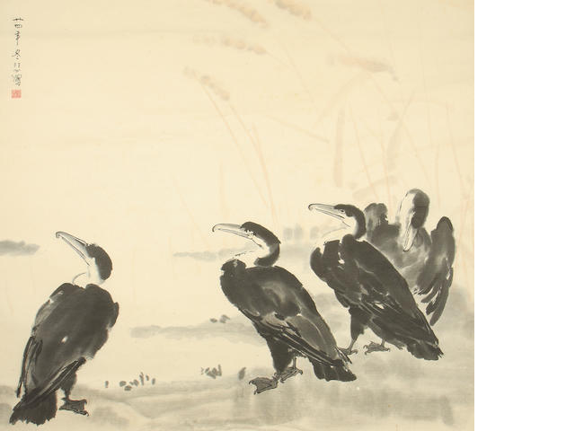 A Chinese scroll picture decorated with cormorants