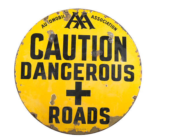 An 'AA - Caution Dangerous + Roads' circular enamel sign, Edwardian,