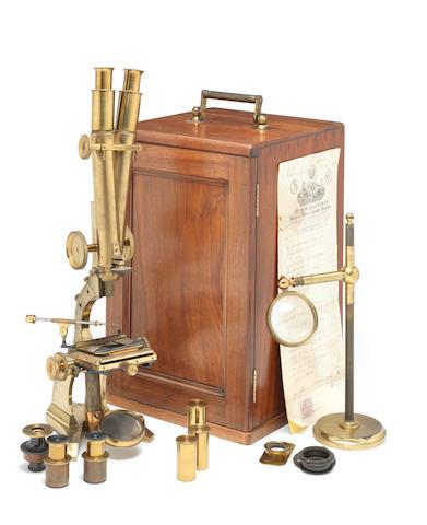 A Marice Pillasicher binocular compound microscope,  English,  dated 1864,