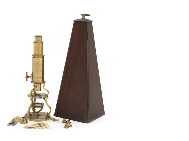 A Culpeper-type compound monocular microscope,  English,  early 19th century,
