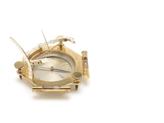 A large brass and silvered brass universal equinoctial dial,  French,  early 19th century,