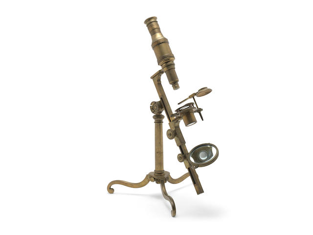 A large George Adams brass compound monocular microscope,  English,  late 18th century,