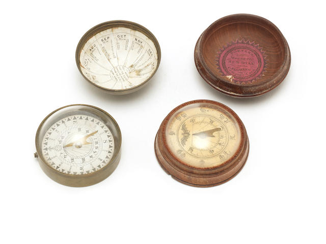 Two small pocket magnetic sundials,  English,  18th and 19th centurues,  (2)
