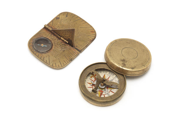 Two small brass compass sundials,  English,  18th and 19th centuries,  (2)