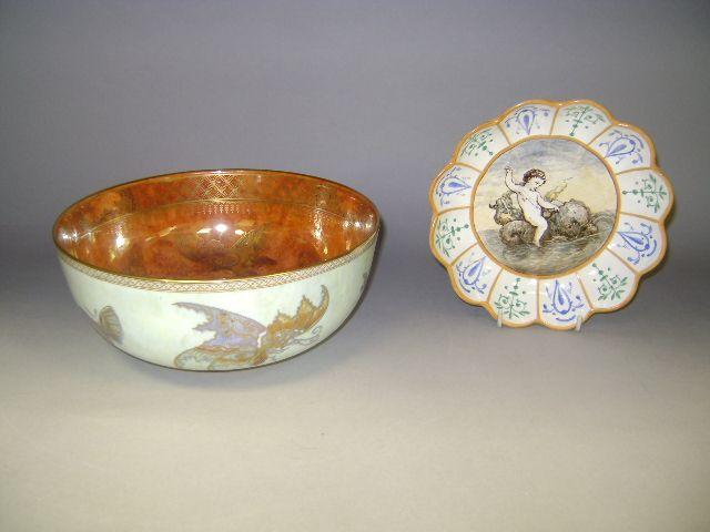 A Wedgwood painted dish and a lustre bowl.