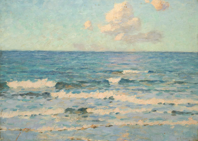 William E Osborn (British, 1868-1906) Seascape in St. Ives