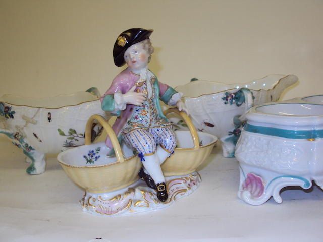 Two Meissen salts and a pair of sweetmeat dishes