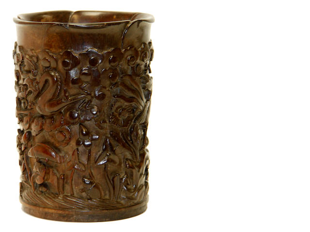 A Chinese rootwood carved brush pot, 19th century