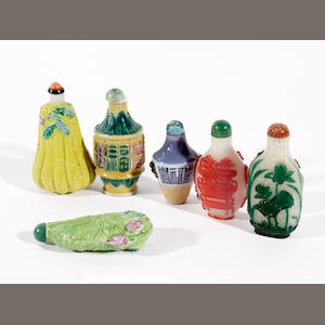 Six Chinese snuff bottles
