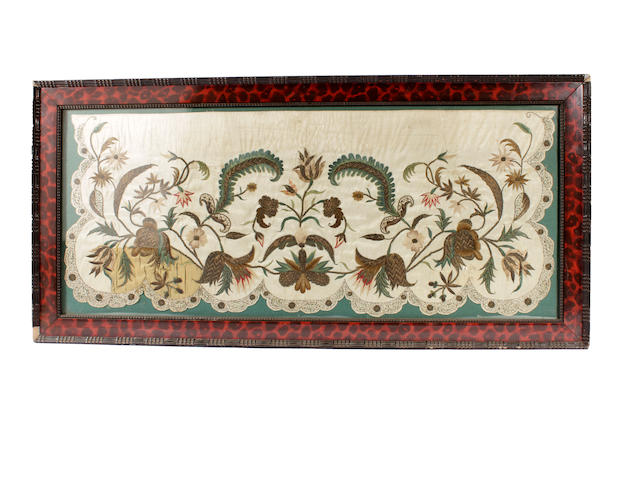 A mid-18th century embroidered apron panel
