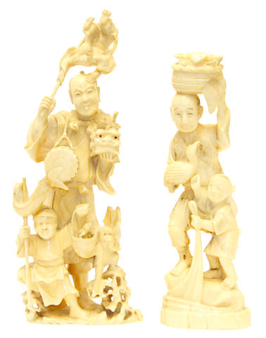 A Japanese ivory okimono group and a marine ivory group