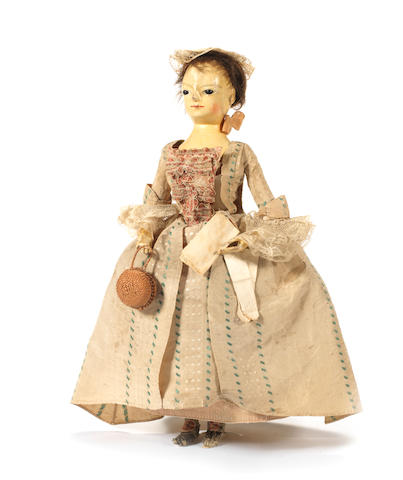 A George II wooden doll, English circa 1750