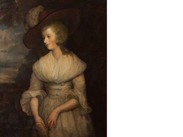 Style of Sir John Hoppner Portrait of Hon. Mary Langdale, later Lady Stourton, three-quarter length, wearing a white dress and brown hat with plume