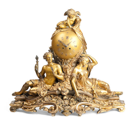 A French 19th century large gilt-bronze clock garniture by Picard