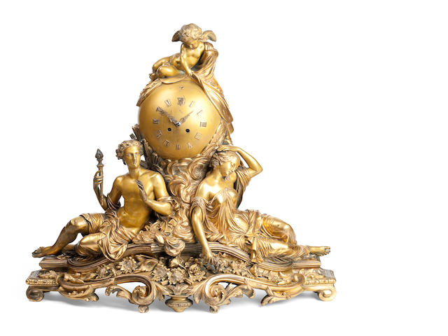 A French 19th century gilt bronze clock garniture by Picard