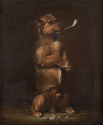 Attributed to Sir Edwin Landseer A dog with a pipe