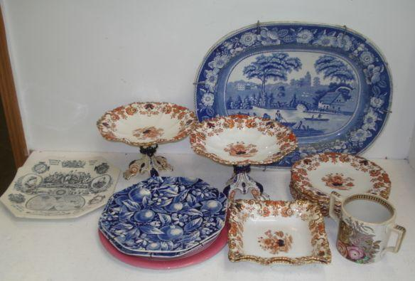A Victorian Staffordshire improved wild rose pattern blue transfer printed meat plate, 46.5cm, a Victorian dessert service floral decorated in the Oriental palette, including a pair of comports, Queen Victoria 1887 Jubilee plate and other Victorian ceramics.