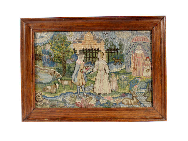 A 17th century style needlework picture, circa 1920s