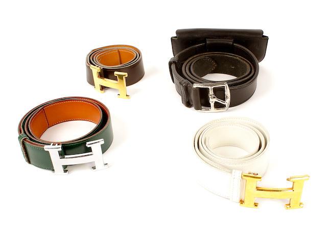 Four Hermès leather belts