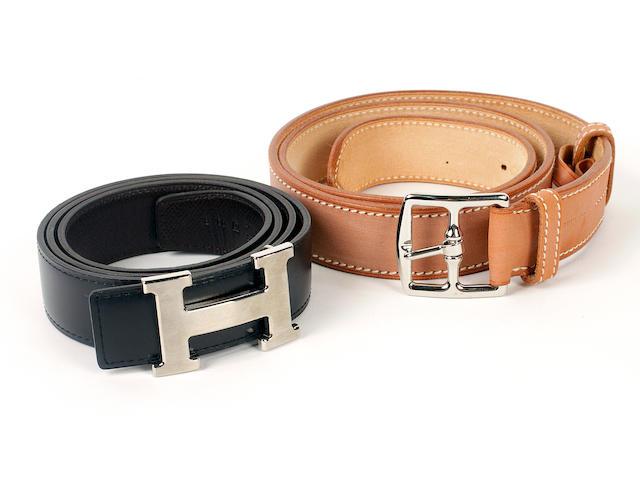 Two Hermès leather belts