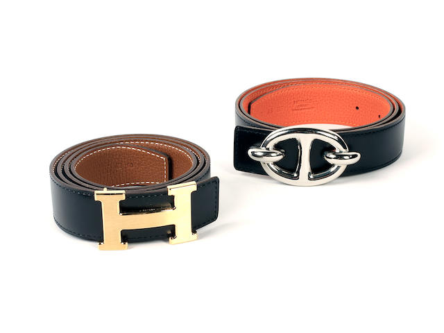 Two Hermès leather belts