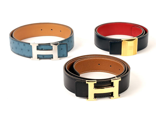 Three Hermès belts