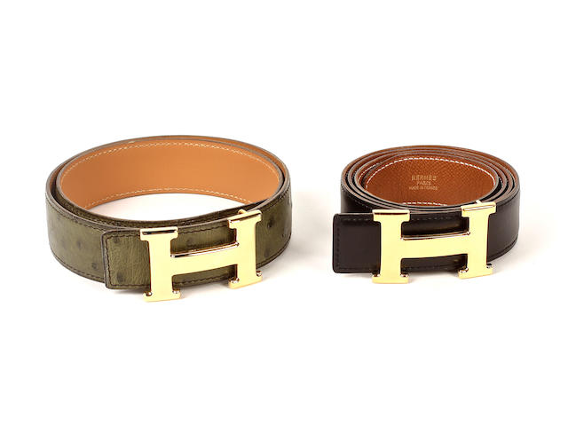 Two Hermès belts