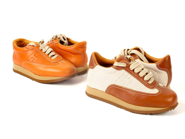 Two pairs of Hermès trainers