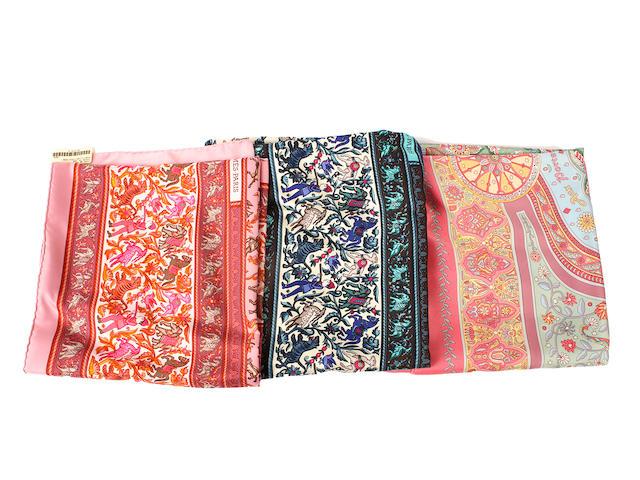 Three Hermès silk scarves