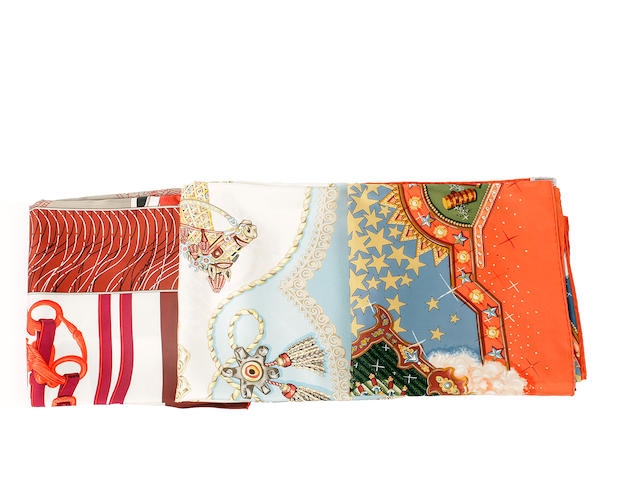 Three Hermès silk scarves