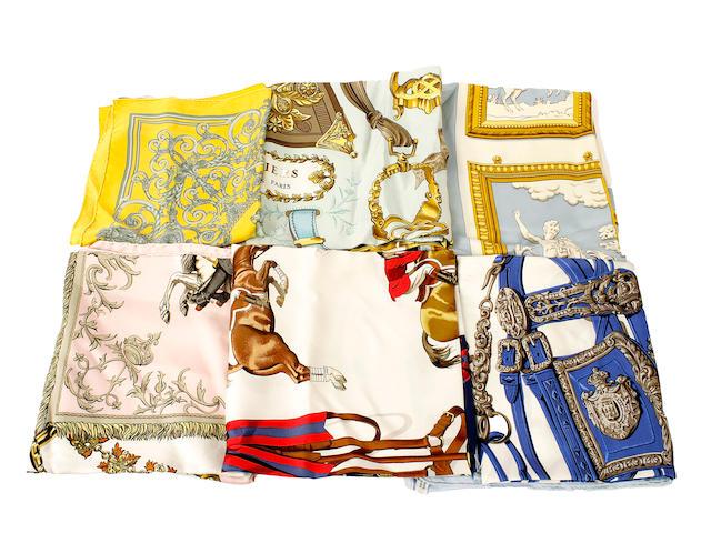 Six Hermès silk scarves
