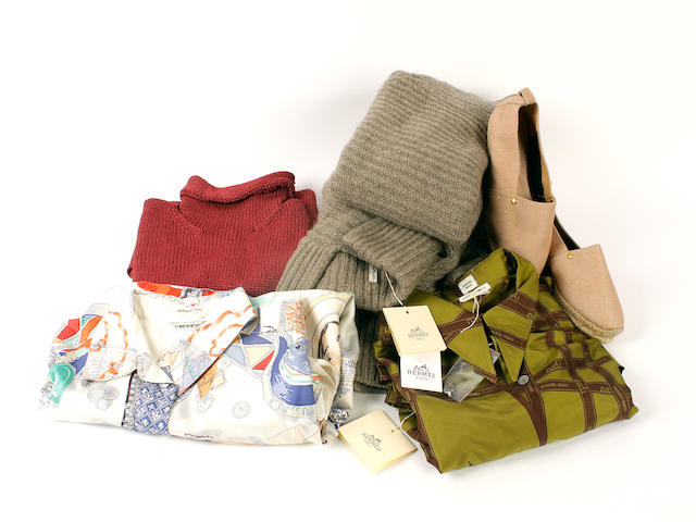 A group of Hermès clothing and a pair of espadrilles