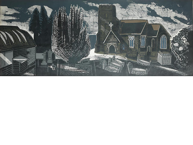 Edward Bawden R.A. (British, 1903-1989) Lindsell Church Linocut printed in colours, 1964, on wove, signed, dated, titled and numbered 45/50 in black ink, 610 x 1550mm (24 x 61in)(B)