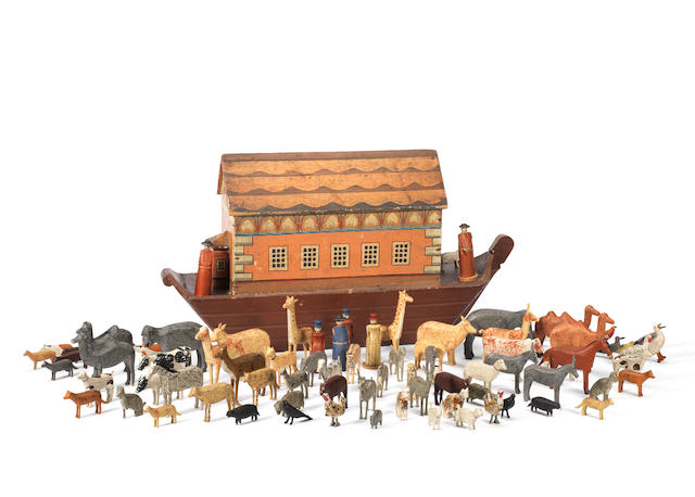 A late 19th Century wooden Noak's Ark, German circa 1880, containing 110 hand-carved wooden animals and figures (quantity)