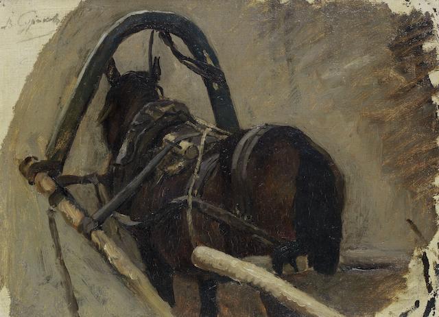 Vasili Ivanovich Surikov (Russian, 1848-1916) A study for the Boyarina Morozova