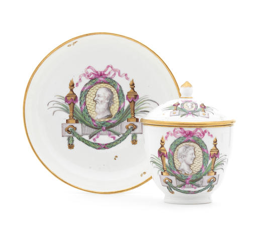 A rare Fulda cup, saucer and cover, circa 1780