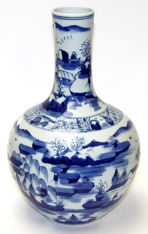 A Chinese blue and white globular vase, Yongzheng mark but later
