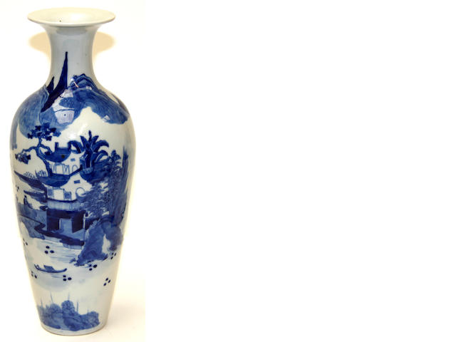 A Chinese blue and white meiping vase, Kangxi mark