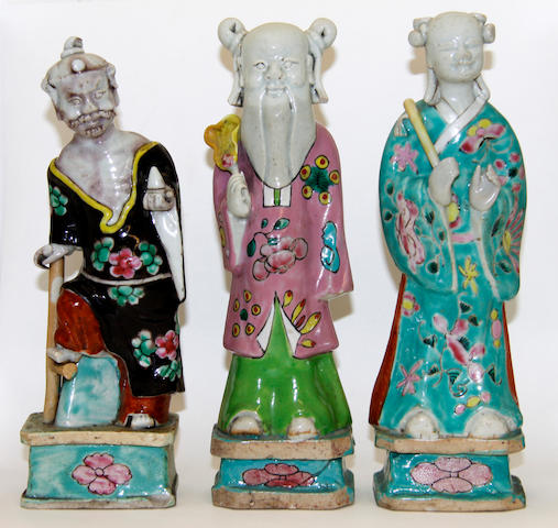 Six famille rose Chinese export figures, Qianlong