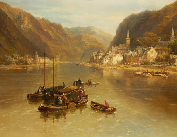 Attributed to Pierre Justin Ouvrié  (French, 1806-1879) View of St Goar and St Goarhausen