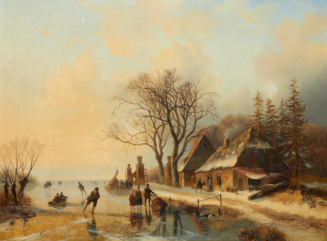 Jacobus Freudenberg (Dutch, 1818-1873) Skaters on a frozen lake