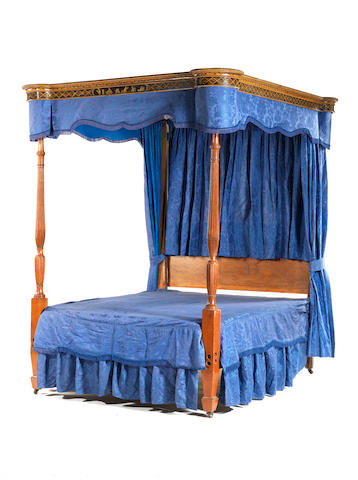 A late George III polychrome painted tester bed  attributed to Gillows